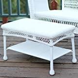 Jeco Wicker Patio Furniture Coffee Table in White