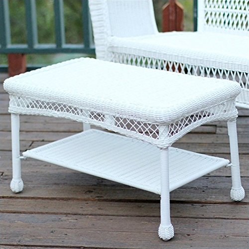 Pemberly Row Wicker Patio Coffee Table in White