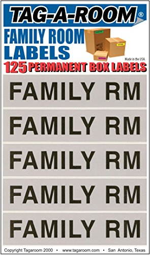 Tag-A-Room Color Coded Home Moving Packing Box Labels (Family Room)