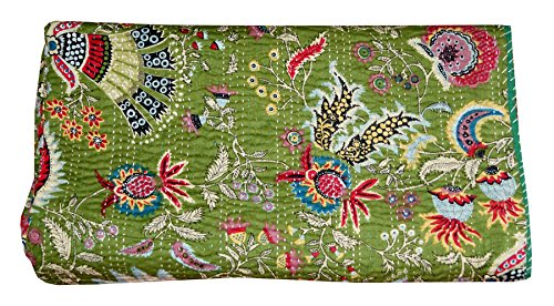 India Kantha Quilt Queen Size Reversible Bedspread Handmade Cotton Floral Bedsheet Home Décor 108 X 90 Inches