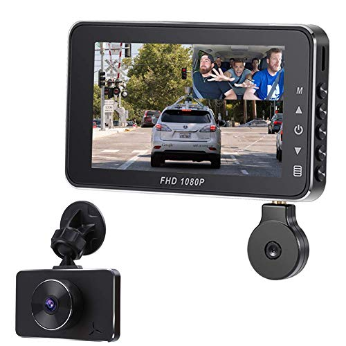 Car Dashcam,Dash Cam Recorder Front and Rear Facing Cameras 3' Display for Cars and Trucks with Night Vision Support 128GB Memory Card