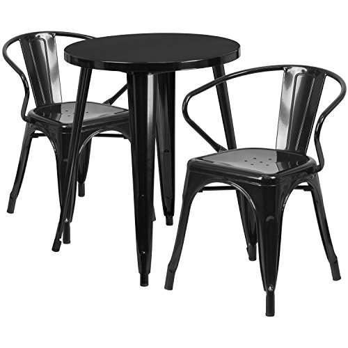 Flash Furniture 24'' Round Black Metal Indoor-Outdoor Table Set with 2 Arm Chairs (Table Buy Online Dining Chairs)