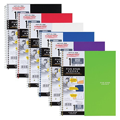 (Five Star Spiral Notebooks, 1 Subject, Graph Ruled Paper, 100 Sheets, 11