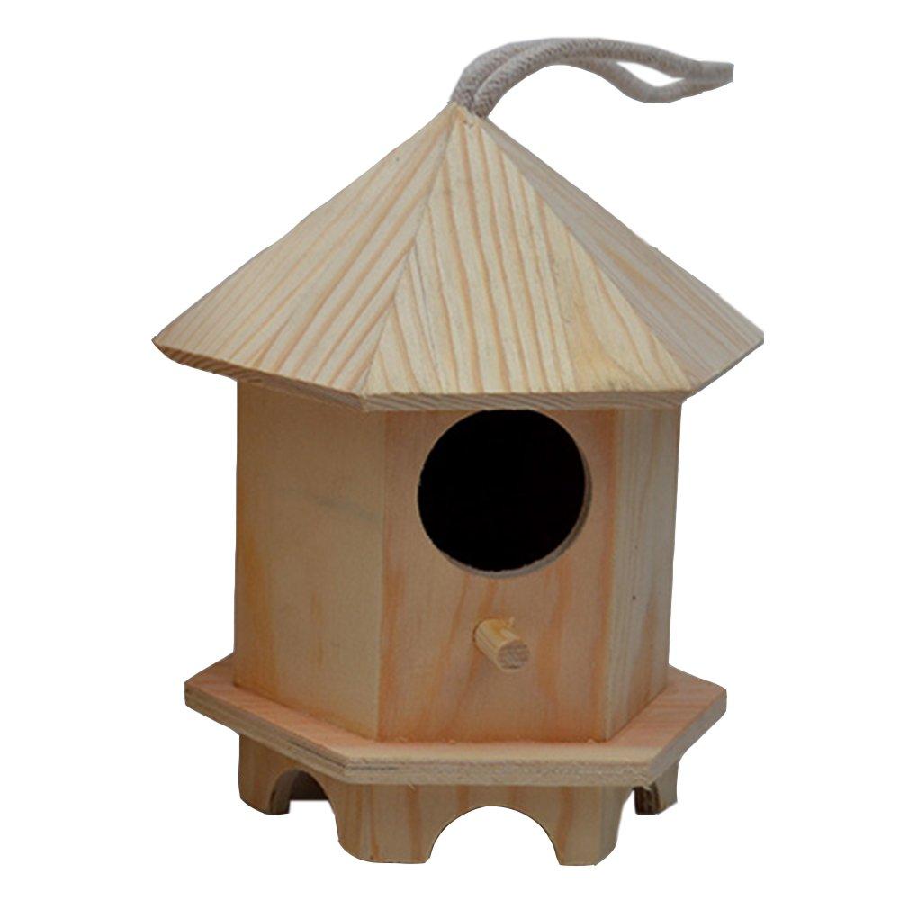 Outdoor Bird Nest decorazione da giardino in legno a forma di uccello pappagallo torre Sparrow uccello allevamento box a foro singolo uccello nido Pavilion CAIYI