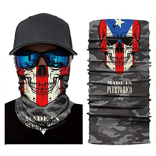 BMART 3D Seamless Magic Scarf Neck Face Mask Flag Skull Headband Headwear Bandana Men (Puerto RICO)