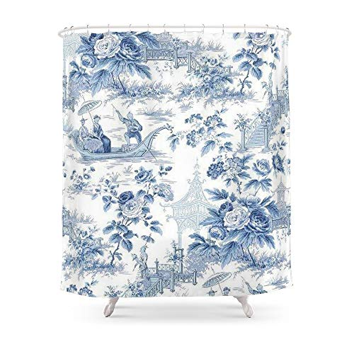fengyijiating Powder Blue Chinoiserie Toile Shower Curtain 60