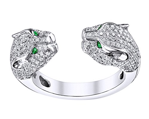 Wishrocks Round Cut Simulated Emerald & White CZ Double Head Panther Ring in 18K Gold Over Sterling Silver