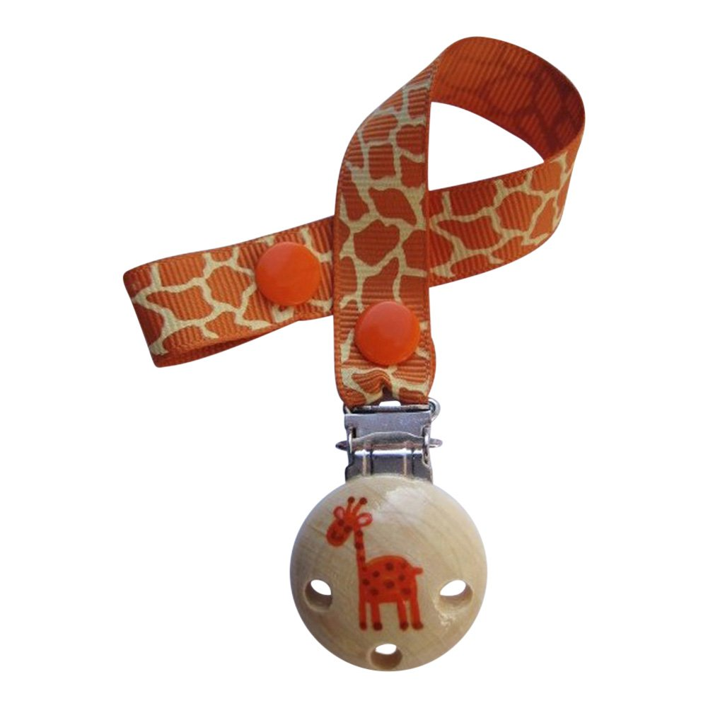 CuteToots hand-painted wooden dummy clip - Geoff the giraffe (for dummy with ring)