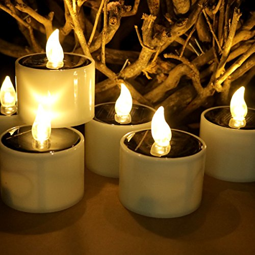 Solar Power Tealight, Advocator Solar Powered 6 Pcs Warm White Flickering Flameless Candle Lights Waterproof Romantic Solar Electronic Nightlight LED Light Candle Fake Tealight Candle for Home Decor by Advocator