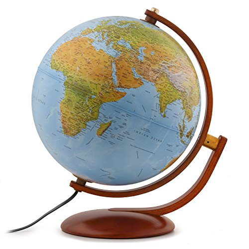 Waypoint Geographic Gibraltar 12  Globe With Multi Directional Wooden Meridian   Base Perfect For Home   Office  Physical Ocean  World  Blue  3 5 Lb