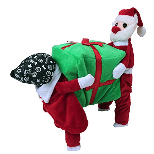 Funny Little Dog Costumes (iEFiEL Little Dogs Funny Santa Carrying Gift Box Coat Warm Jacket Christmas Costume Apparel Red&Green M)