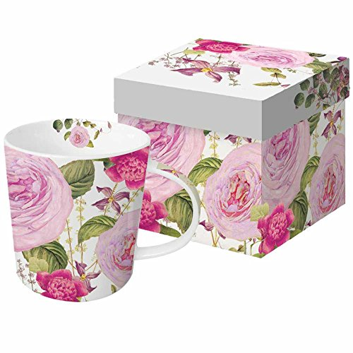 Paperproducts Design New Bone China Large Capacity Gift Boxed Mug, Pink Vintage Rose, 13.5 oz, Multicolor