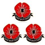 AGR8T 3pcs Lest We Forget Enamel Red Poppy Flower