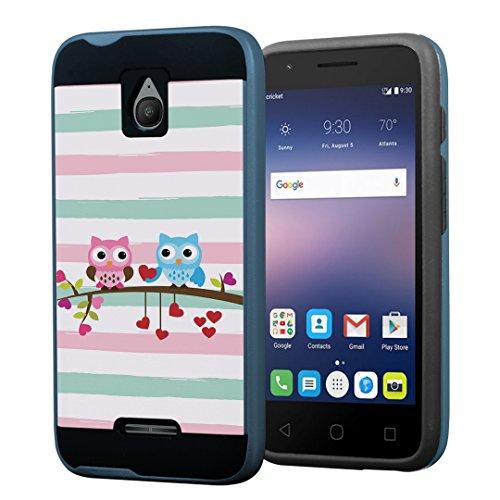 Alcatel Streak Case, Alcatel Dawn Case, Alcatel Ideal Case, Alcatel Pixi Avion / Pixi Bond Case, Capsule-Case Hybrid Fusion Daul Layer Slick Armor Case (Black & Blue) - (Cute Owl) (One Touch Phone Case Chevron)