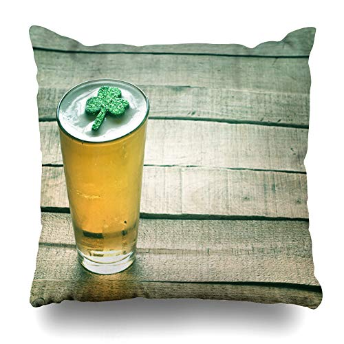 Ahawoso Throw Pillow Cover Modern Party St Patricks Day Green Shamrock Floating Food Pub Drink Holidays Irish Festival Vintage Home Decor Pillow Case Square Size 16x16 Inches Zippered Pillowcase]()