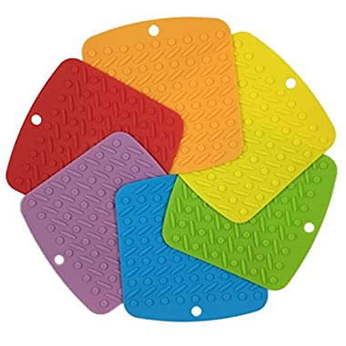 RedLantana Silicone Trivet and Pot Holders - Set of 6 (Size: 7  x 7 )