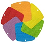 """RedLantana Silicone Trivet Pot Holders and Spoon Rest - Set of 6 (Size: 7"""" x 7"""")"""