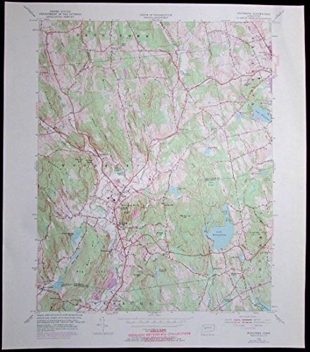 Woodbury Connecticut Lake Quassapaug vintage 1972 old USGS Topo - Lakes Woodbury