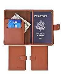 RFID Blocking Passport Holder Leather Wallet Id Card Cover Case Journey Pocket, Brown