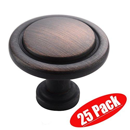 (Friho Antique Brass Black Oil Rubbed Bronze Furniture Kitchen Door Hardware Round Drawer Cabinet Knobs, 25-Pack)