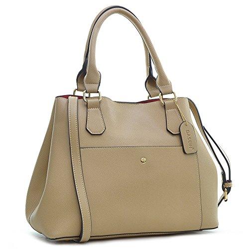 dasein-saffiano-leather-gathered-top-with-shoulder-strap-beige
