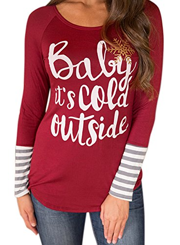 For G and PL Women's Christmas Striped Graphic Tee Tops Baby It's Cold Outside L