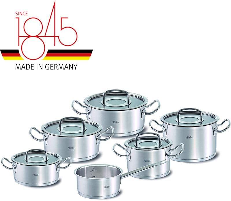 Inox 18//10 Tous feux dont induction Original-Profi Collection 1 casserole Fissler Batterie de cuisine 5 pi/èces 4 faitouts avec couvercle