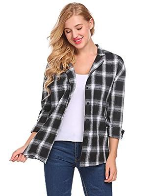Concep Women's Long Sleeve Check Flannel Plaid Shirt Button Down Blouse Tops