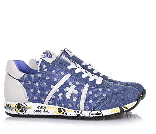 PREMIATA - Blauer Schuh mit Schnürsenkeln aus Denim, mit Tupfenmuster, Lederapplikationen, auf der Zunge ein Logo, Jungen