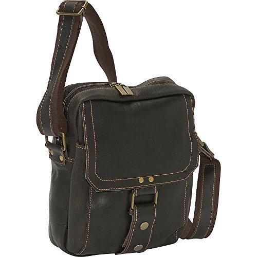 David King Distressed Leather Man Messenger Bag in Brown (David Leather Distressed King)