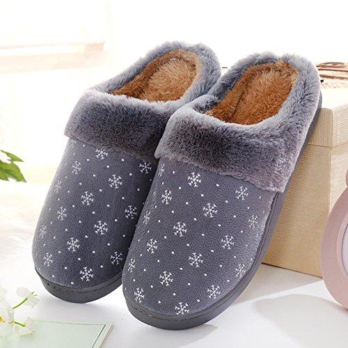 Cotone habuji inverno uomini del sacco con cotone pantofole extra grande dimensione plus home scarpe di cotone Paolo, 41-42, grigio