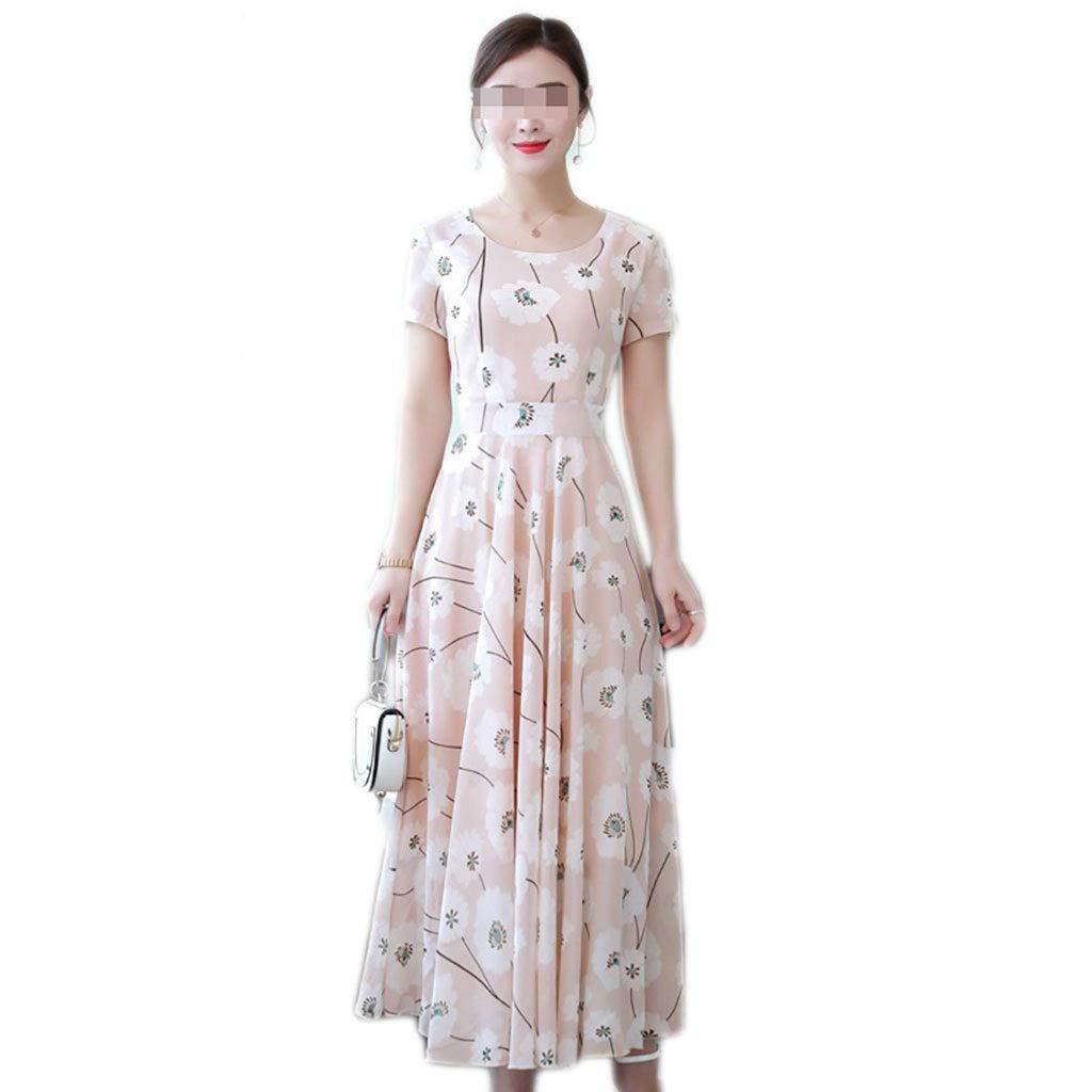 B Robe Fast Fashion - Maxi Plus La Taille Sheering Jupe à Manches Courtes en Mousseline de Soie à Fleurs pour Femmes à Manches Longues 2 Couleurs 6 Tailles (Couleur   B, Taille   XL) X-Large