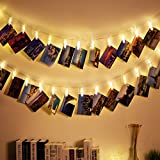 Weico LED Photo Clips String Lights, Battery Powered, 40 Picture Clips Starry Fairy Twinkle Lights, Wedding Party Home Decor Lights for Hanging Photos, Post Cards and Artwork (13Feet, Warm White)