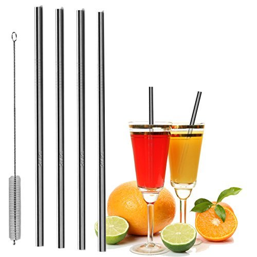 GoWorth 8.5/10.5 inch Stainless Steel Straight Drinking Straws Fits 20/30 oz Yeti Tumbler Rambler Cups,Set of 4, Cleaning Brush Included