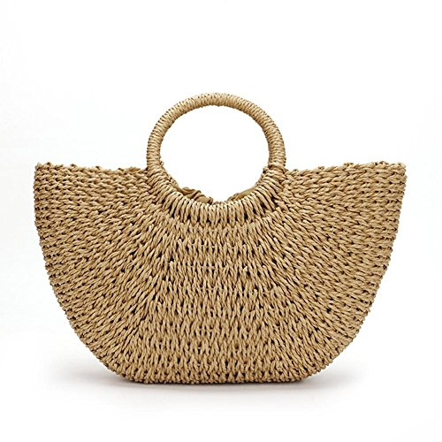 Mujer Natural nbsp;% 100 tejida de hombro playa Verano bolso Beige Color paja de Caqui crossbody Caqui playa Bolsa mano 80W0dH