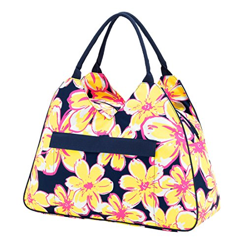 Floral Beach Bag (Large Water Resistant Beach Bag High Fashion Print with Zipper TopCan be PERSONALIZED (Blank, Beach Floral))