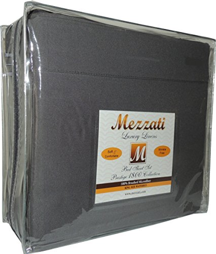 Mezzati Luxury Waterbed Sheets Set - #1 On Amazon! ★ Best, Softest, Coziest Bed Sheets Ever! ★ Sale Today Only ★ 1800 Prestige Collection Brushed Microfiber Luxury Wrinkle Resistant Bedding Sheets - Deep Pocket - High Quality with Soft Silky Touch ★ All with 100% Money Back Guarantee!! (Gray, King)