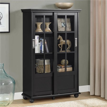 4 Shelf Storage Cabinet Library, Sliding Glass Doors, Bookcase, Made of Solid Wood, Bookshelf, Adjustable Shelves, Eco Friendly, Furniture, Living Room, Bedroom, Home Office (Black) ()