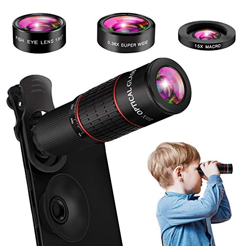 Phone Camera Lens, 10 in 1 Cell Phone Lens Kit 20X Zoom Telephoto Lens, 15X Macro Lens, 0.36X Super Wide Angle Lens, 195°Fisheye Lens Compatible with iPhone 11 Pro Max XS Max XR X 8 Samsung Android