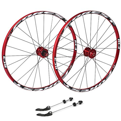 ZNND Cycling Wheels 26, Bicycle Double Wall MTB Rim Quick Release V-Brake Hybrid/Hole Disc 7 8 9 10 Speed 135mm (Color : Red, Size : 26inch)
