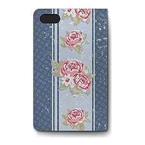 Leather Folio Phone Case For Apple iPhone 4/4S Leather Folio - Grungy Roses on Blue Trellis Lightweight Wrap-Around