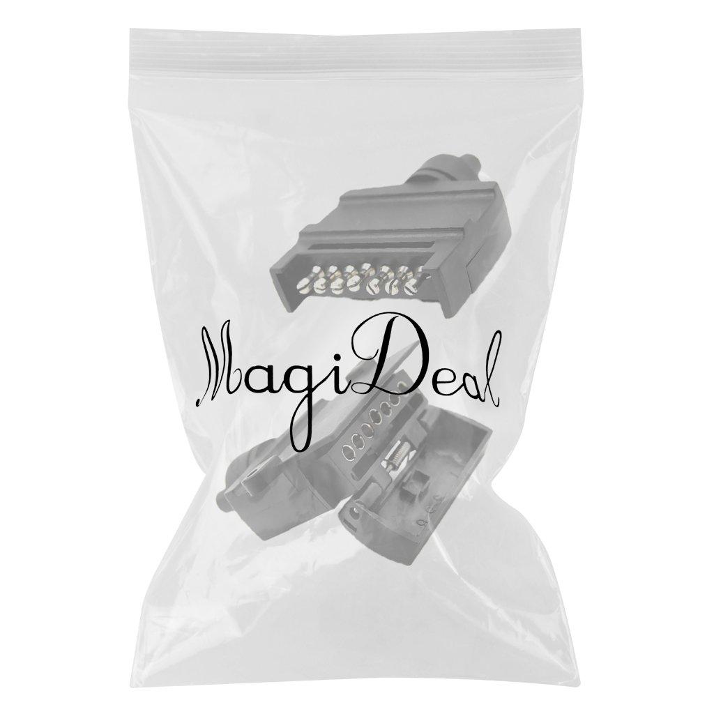 MagiDeal 1 Paire 7pin 12v Prise Plate Socket Remorque Lumi/ère Connecteur Mle Adaptateur Femelle