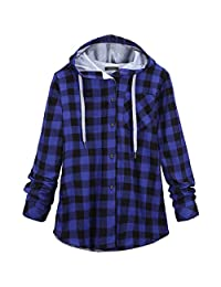 Shinekoo Women Autumn Stylish Jacket Casual Plaid Coat Outwear Hooded Blouse