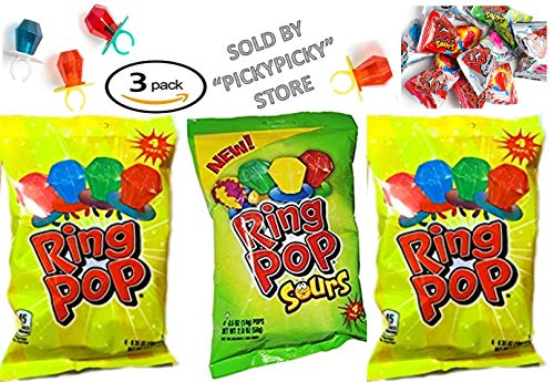 Bazooka Ring Pops Sours 1.4oz (Pack of 3) -