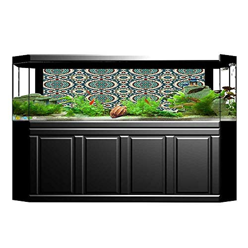 UHOO2018 Aquarium Sticker Mod Graphic Design of Classic Ancient Eastern Islamic Art Patterns in Retro Nostalgic Fish Tank Backdrop Static Cling 23.6