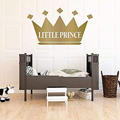 Wall Decal For Kids | Personalized Name King Crown Design | Vinyl Wall Home Decor for Boy's Bedroom, Playroom | Custom Baby Nursery Decoration | Black, White, Gold, Other Colors | Small, Large Sizes: Handmade