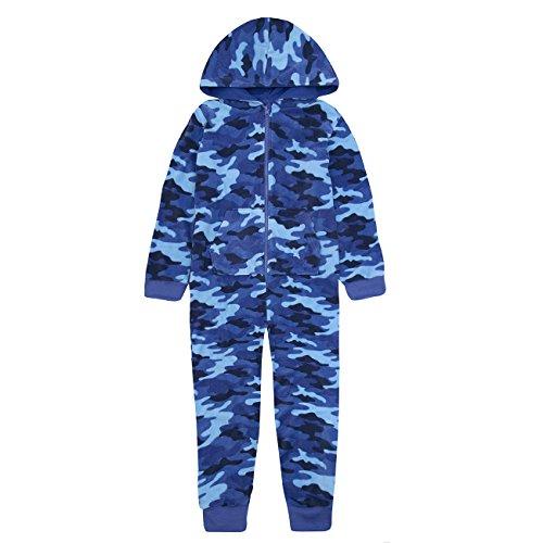 Kids Urban Camo (Onezee Kids Boys Camouflage Hooded Sleepsuit - Green & Blue Camo Fleece Jumpsuit Blue 9-10)