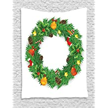 Ambesonne Christmas Decorations Collection, Wreath Evergreen with Candy Cane Stockings Mistletoe Red Berry Front Door Decor, Bedroom Living Room Dorm Wall Hanging Tapestry, Green White