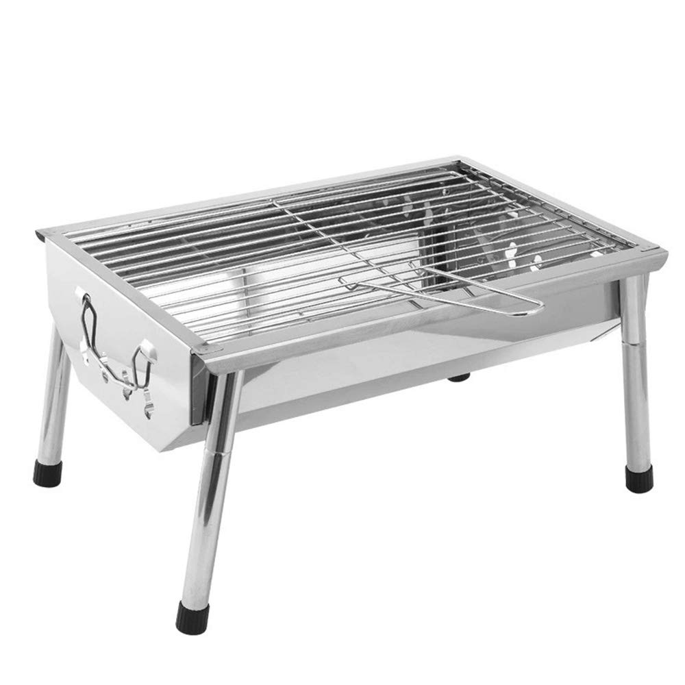 Outdoor Portable Folding BBQ Grill, Household Grill Charcoal Oven, Camping Dinner Stainless Steel BBQ Oven