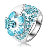 AnaZoz Jewelry 18K Gold Plated Enamel SWA Elements Ring Platinum Plated Blue Austrian Crystal Flower Rings